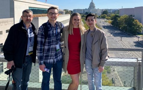From left, Lindenlink's advisor Neil Ralston poses with Matt Hampton, Kayla Drake and Tyler Keohane in Washington D.C.