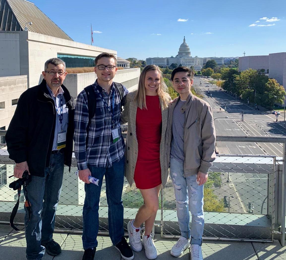 From left, Lindenlink's advisor Neil Ralston poses with Matt Hampton, Kayla Drake and Tyler Keohane in Washington D.C.