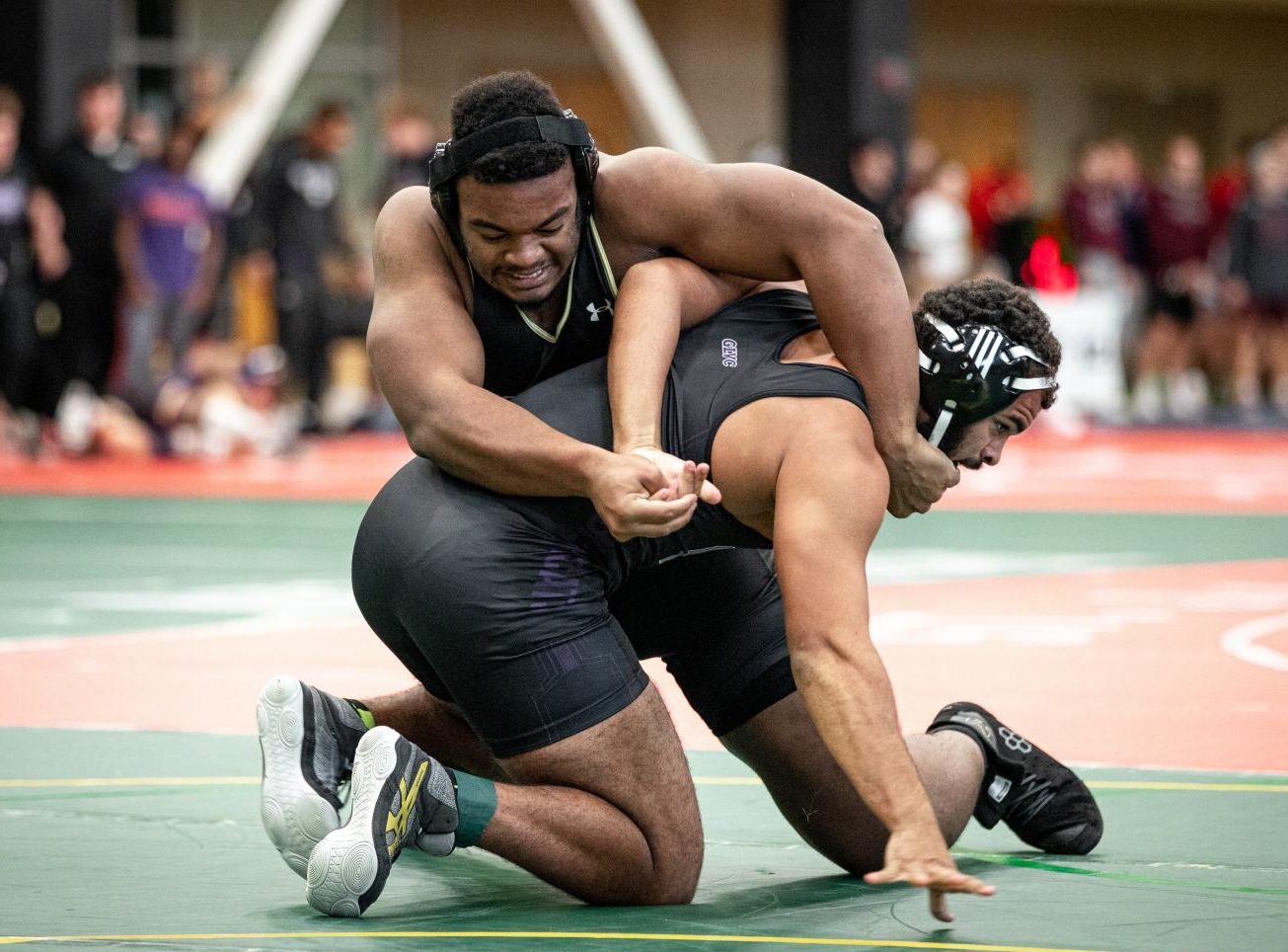 Kaleb Bryant takes on a competitor in the 285 pound weight-class at the Lindenwood Open on Satuday, Nov. 23.
