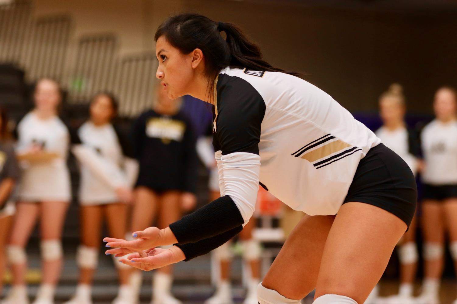 Libero Kaitlyn Chan sets up at the beginning of a match against the University of Missouri-St. Louis on Oct. 8.