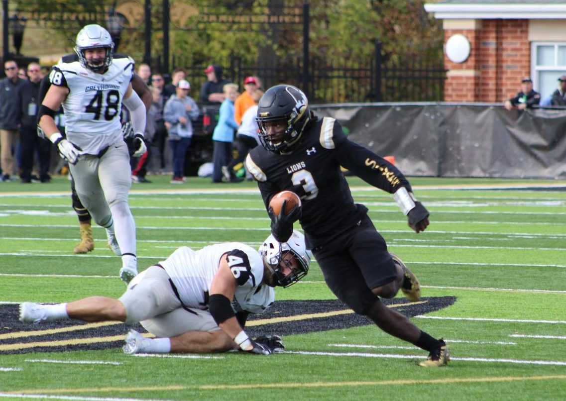Nash Sutherlin (3) ran 53 yards for a touchdown on a pass from Brister, extending the Lions lead on Saturday against the University of Indianapolis Greyhounds.  Photo by Caleb Riordan.