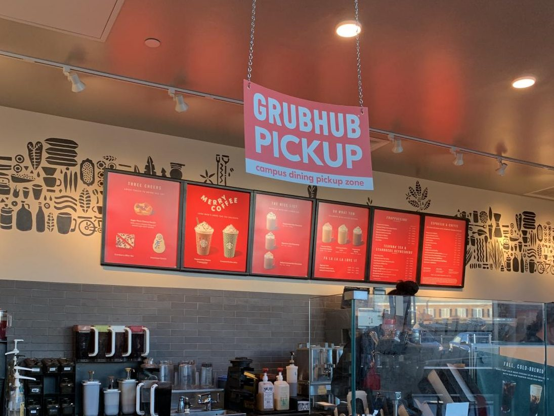 Grubhub pickup is now available at Starbucks in the LARC and Qdoba in Spellmann.