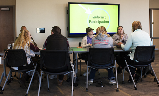 Lindenwood students participate in a group discussion during the