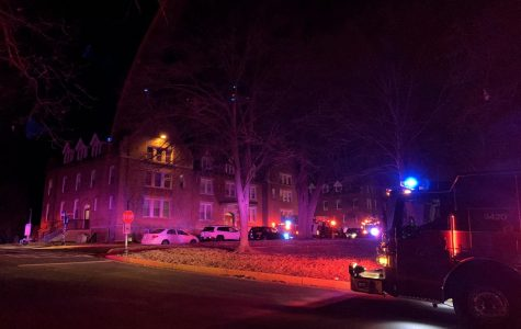 Firetrucks surround Aryes Hall, where a student pulled a fire alarm Dec. 10 in response to smoke.