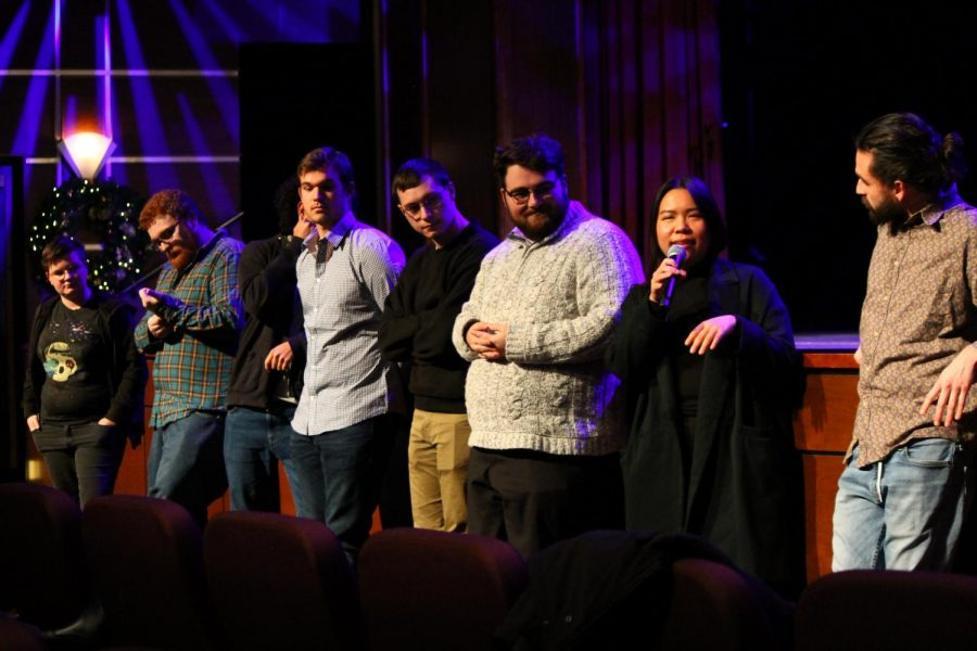 Student Joyce Techa (second from right) and other capstones students answer questions from the audience about their films in the J. Scheidegger Center after the screening.