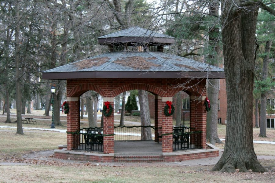 The gazebo on old campus decorated for the holidays.