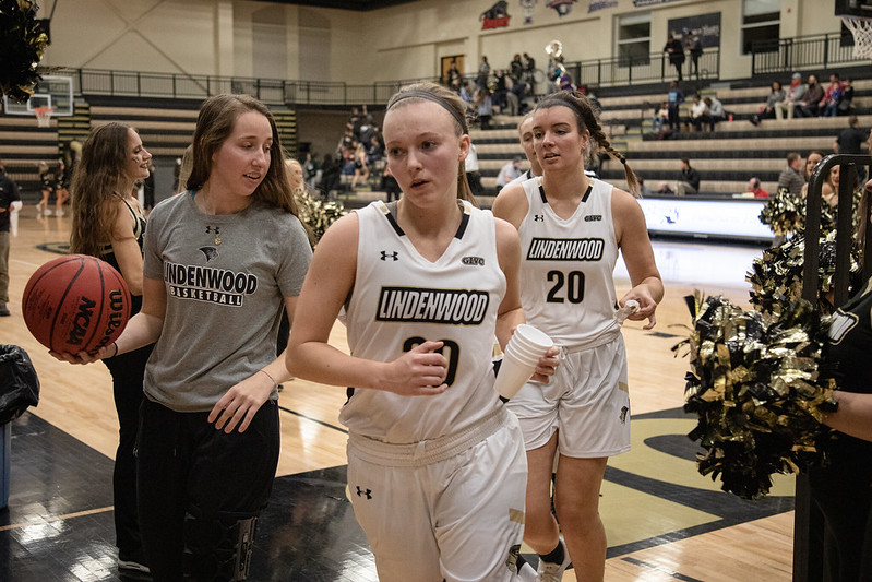 Senior Lindsay Medlen comes over to the bench during a Lindenwood women's basketball game against Pittsburg State on Nov. 13.