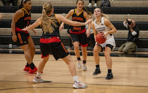 Lindenwood's Devin Fuhring gets set to fire up a shot with defenders surrounding her in an early-season game against Pittsburg State. (File Photo from Nov. 13)