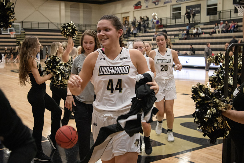 Kate Ruzevich runs over to the Lindenwood bench during their home opener against Pitt State on Nov. 13.