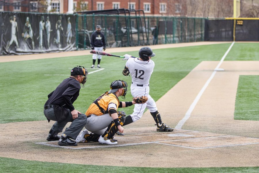 Senior Bryce Beckman at the plate during a home game against Ohio  Dominican University on Feb. 15.