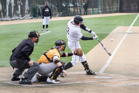 Lindenwood senior Bryce Beckmann takes a swing during the Lions