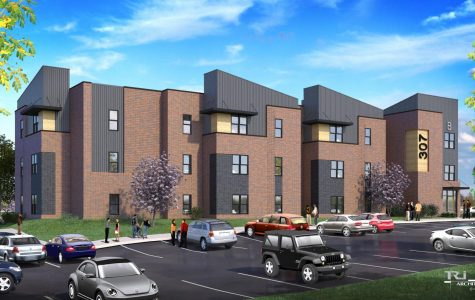 An elevation rendering of one of the proposed student apartment buildings.  <br> Image from Associate Vice President of Operations Tim Crutchley.