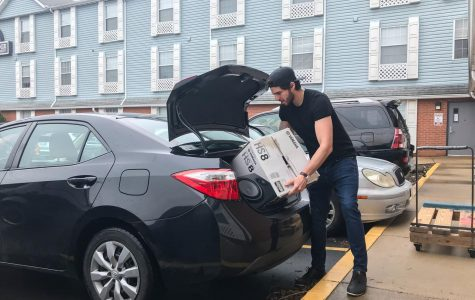 Lindenwood student Bryan Encalada moves out of the Linden Lodge after it was announced that classes would be online for the semester because of the coronavirus.