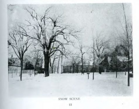 Photo of Lindenwood University in the winter of 1918. <br>Taken from the Mary E. Ambler Archives.