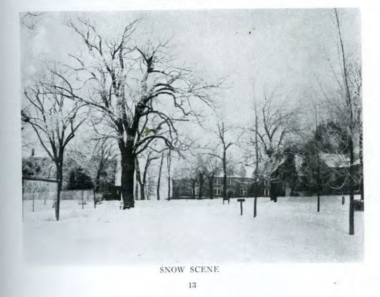 Photo of Lindenwood University in the winter of 1918. Taken from the Mary E. Ambler Archives.