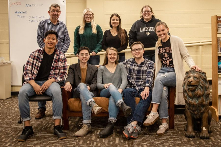 From left back row, Lindenlink's advisor Dr Neil Ralston, Alexis Montgomery, Merlina San Nicolas and Kat Owens.  From left front row, James Tananan, Tyler Keohane, Mia Tebbe, Matt Hampton and Kayla Drake.