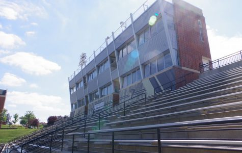 Bleachers at Lindenwood's Hunter Stadium sit empty.  <br> File Photo by Kat Owens.