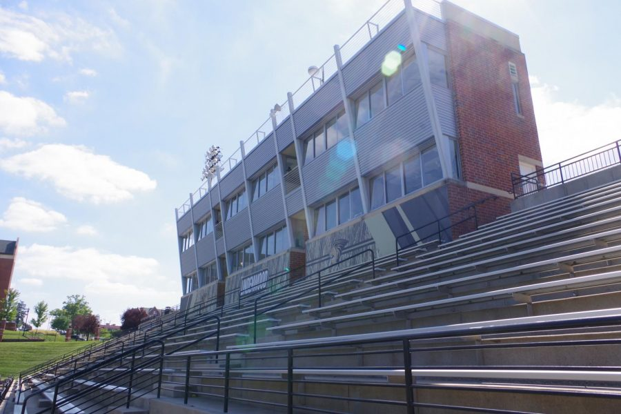 Bleachers at Lindenwood's Hunter Stadium sit empty.   File Photo by Kat Owens.