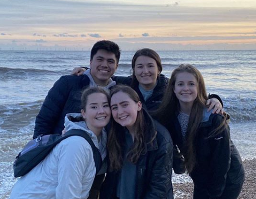 Emily Bax (second from right) with (from left) Nick Garcia, Kira Reed, Cassi Morton, and Lindsay Danchersen before their study abroad trip was cancelled because of COVID-19.   Photo from Emily Bax.