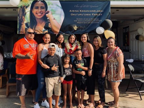 Senior Aisina Farley (center), from O'ahu, Hawaii, was the first to graduate from college in her family, so they still found a way to celebrate her achievement.