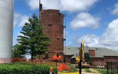 All bricks, as well as the top part of the water tower, have been removed, and the internal steel structure remains to be taken down as of June 10.