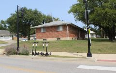 Bird Scooters parked on the public easement outside Lindenwood Housing on Droste Road.