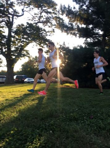 Junior Jered Nollie runs in a cross country meet for Lindenwood.