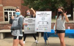 Volunteers of Generation Z Leading the Vote helping register students at Spellmann Center on National Voter Registration Day (Sept. 22).
