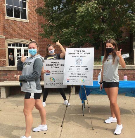 Volunteers of Generation Z Leading the Vote helping register students at Spellmann Center on National Voter Registration Day (Sept. 22).