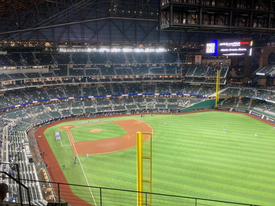 Globe Life Field in Arlington, Texas ahead of a World Series game between the Tampa Bay Rays and Los Angeles Dodgers.