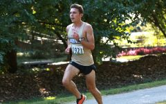 Sophomore Louis Moreau runs in the GLVC Dual Meet on Sept. 25 for Lindenwood.