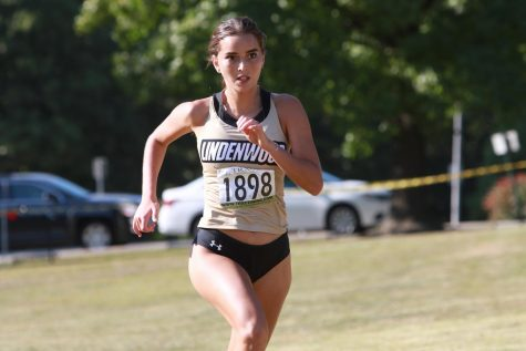 Sophomore Najwa Chouati runs in a GLVC Dual Meet against Maryville on Friday, Oct. 9, 2020.