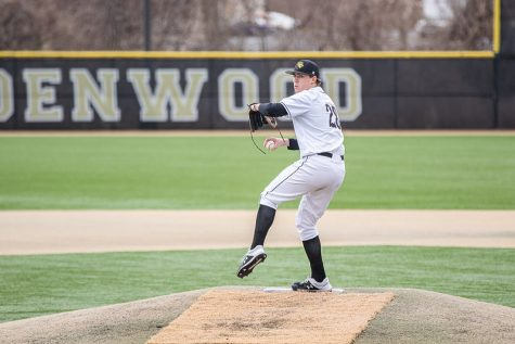 Senior starting pitcher Blake Beckmann on the mound during a home game against Ohio Dominican on Feb. 15, 2020.