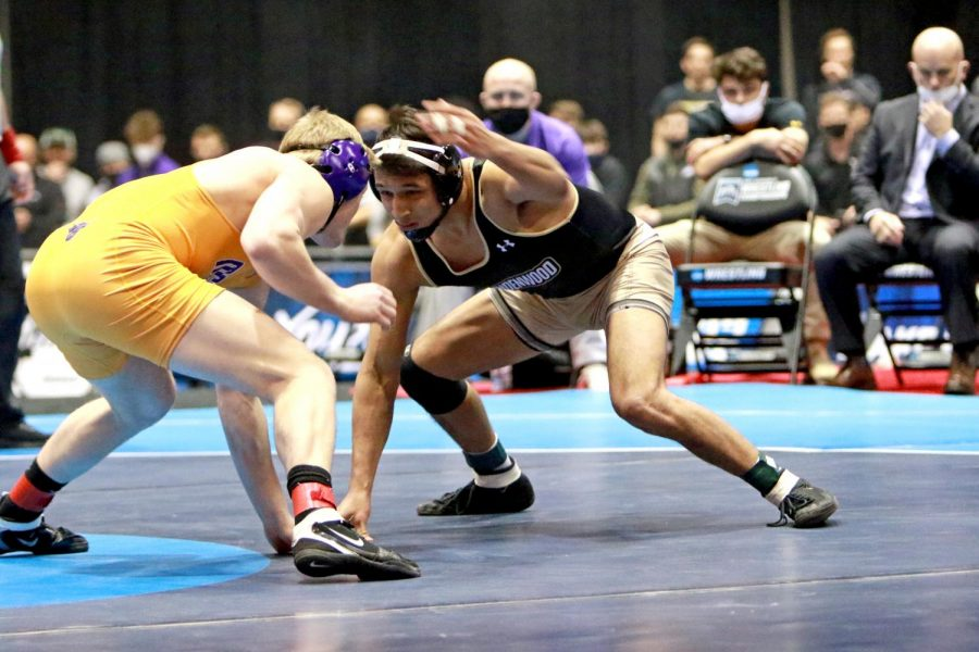 Lindenwood's Abner Romero wrestles an opponent at the 2021 NCAA Division II National Championships at America's Center in St. Louis, Mo. from March 12-13.