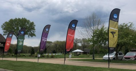 GLVC school banners are lined up at the 2021 GLVC Championships in Eureka, Mo.