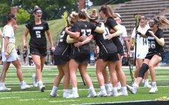 Lindenwood celebrates after scoring against No. 1 Indianapolis on May 16 in the quarterfinals of the NCAA tournament.