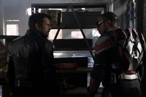 Sebastian Stan (left) and Anthony Mackie (right) during a scene in The Falcon and The Winter Soldier. Photo from Marvel and The Falcon and The Winter Soldier website.