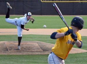 Lindenwood pitcher Geoff Hartlieb pitches against an Augustana College batter in 2016. Photo Submitted by Neil Ralston