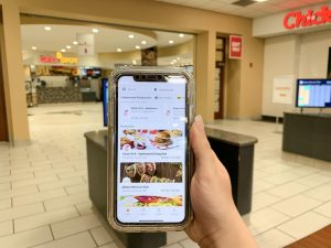 On the Grubhub app, both Chick Fil A and Qdoba show wait times of over an hour. Photo taken on Wednesday, Sept. 1 during dinner hours at Spellman.