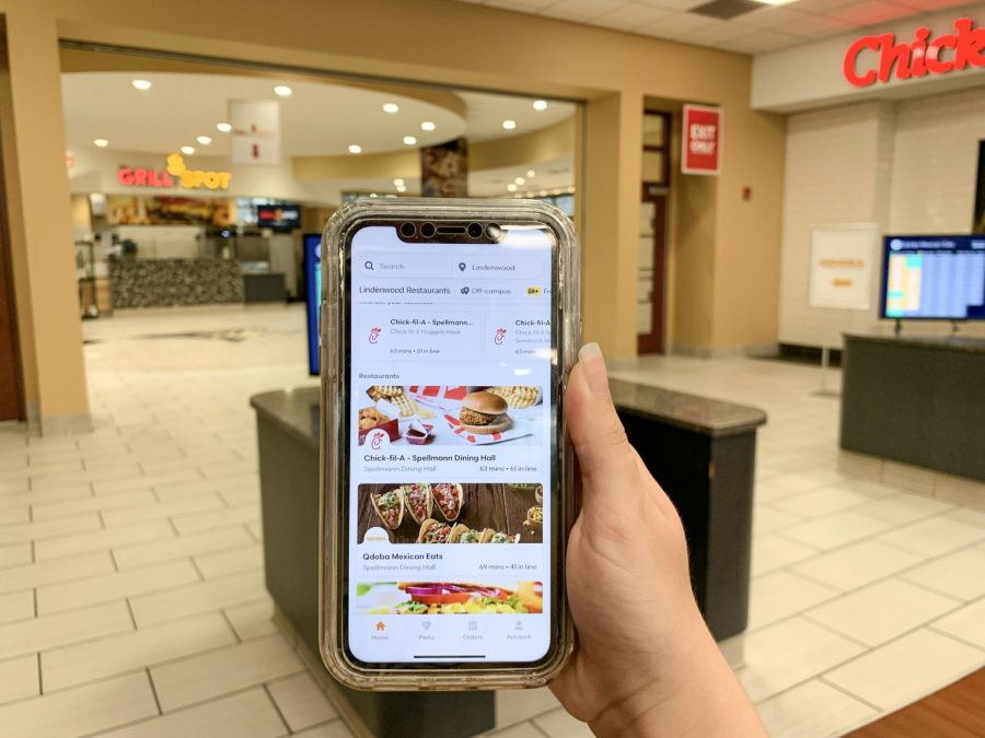 On+the+Grubhub+app%2C+both+Chick+Fil+A+and+Qdoba+show+wait+times+of+over+an+hour.+Photo+taken+on+Wednesday%2C+Sept.+1+during+dinner+hours+at+Spellman.+
