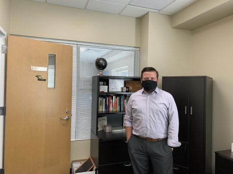 Lindenwood Director of Residential Life Ryan McDonnell stands in his office at Lindenwood University.