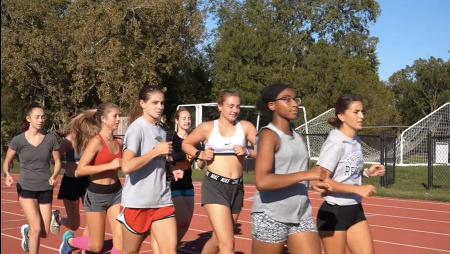Womens cross country in training on Monday, Oct. 18, at the Lindenwood track ahead of the 2021 GLVC Championships.